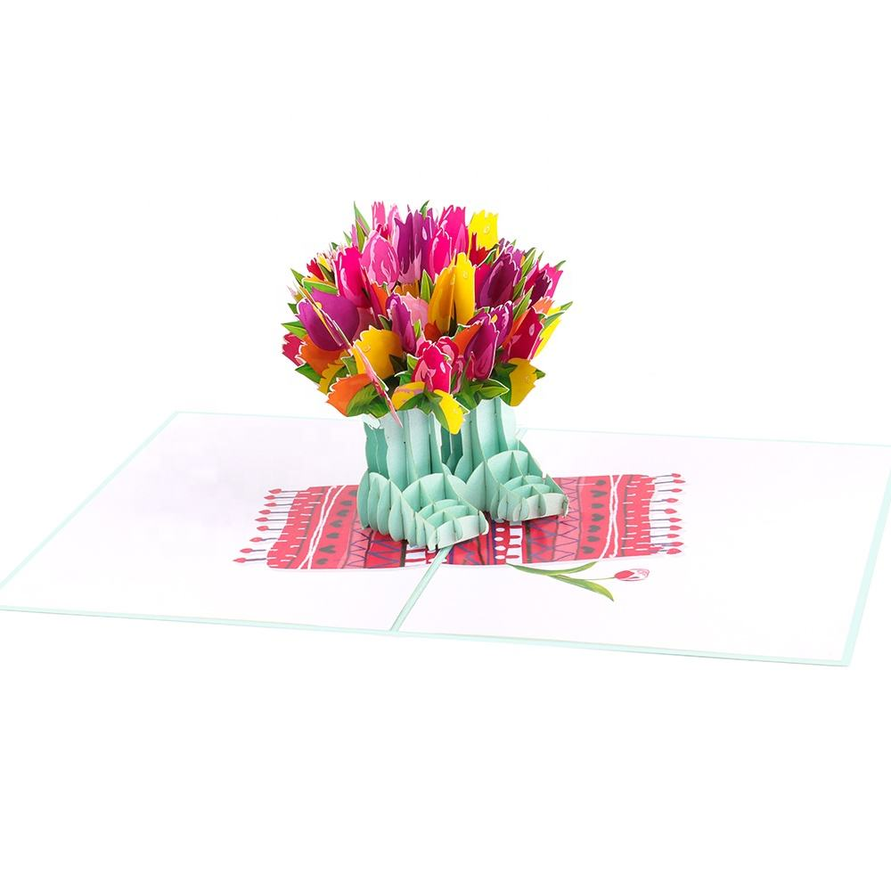 Tulips floral in boots pop up card vibrant birthday 3d presents for mom bulk factory direct price (WhatsApp 84903442499)