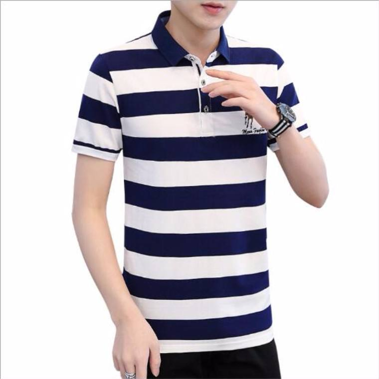 2020 summer new lapel men's striped short-sleeved T-shirt POLO shirt hit color youth embroidery