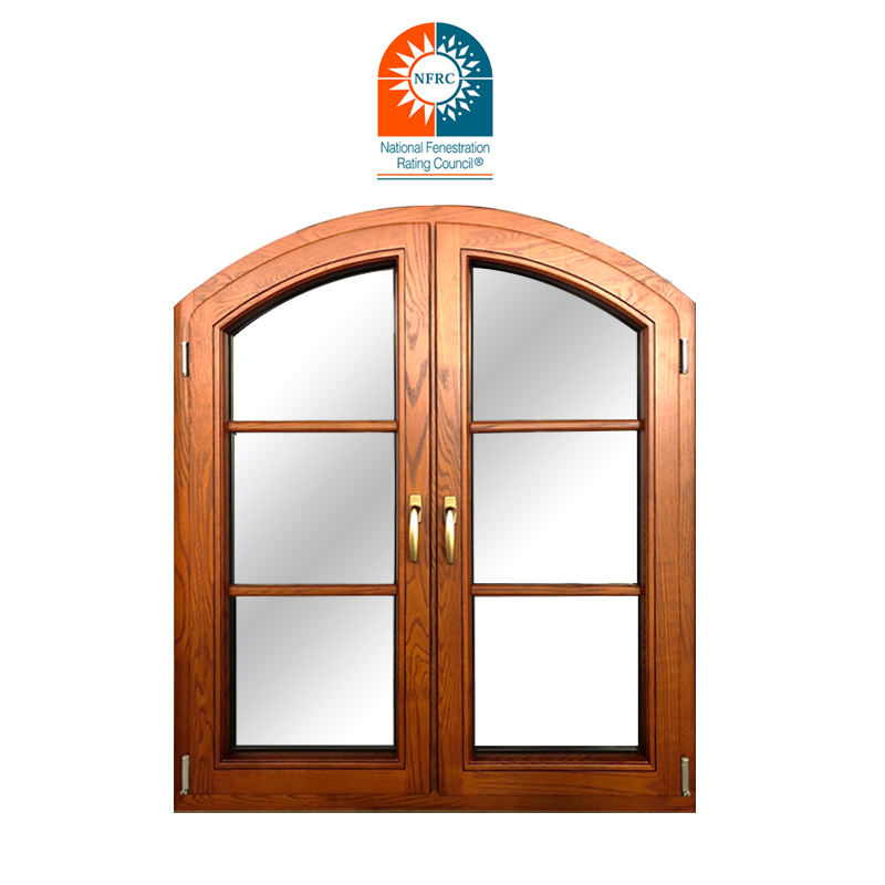 Arched Wooden Pattern Window With Double Glazing Glass Wholesale Oak wood window design French window