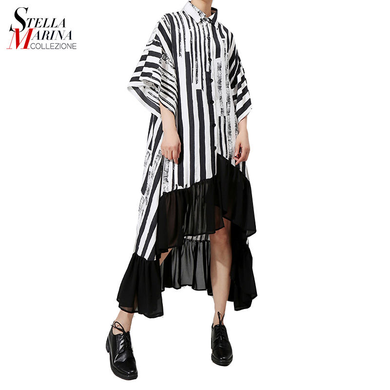 New 2019 Women Summer Asymmetrical Black Striped Shirt Dress Plus Size Ruffle Half Sleeve Night Party Club Dress Robe Femme