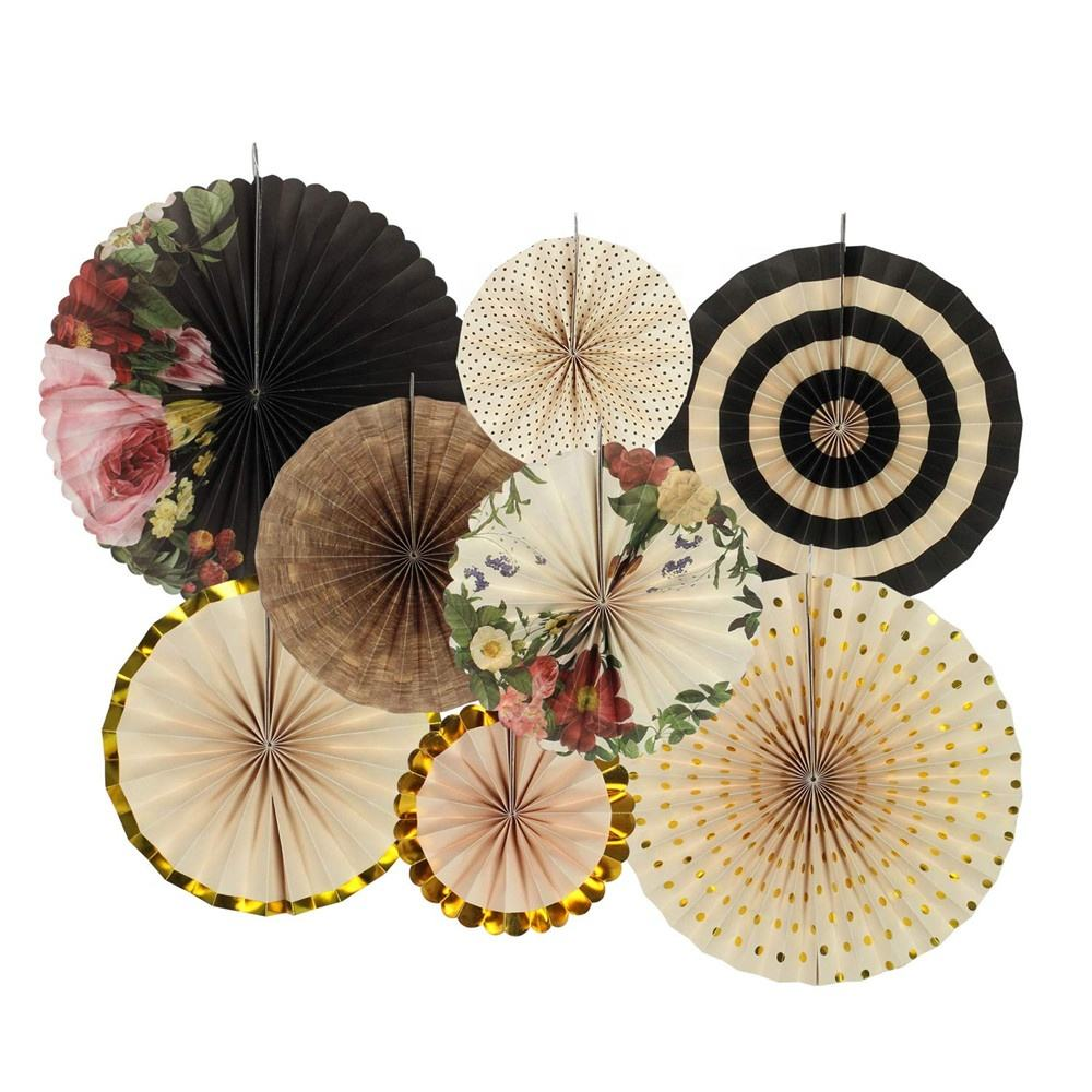 Hot Hanging Decoration Items Paper Fans Assorted Color Set Of 8 Party Decoration Paper Fans 80340
