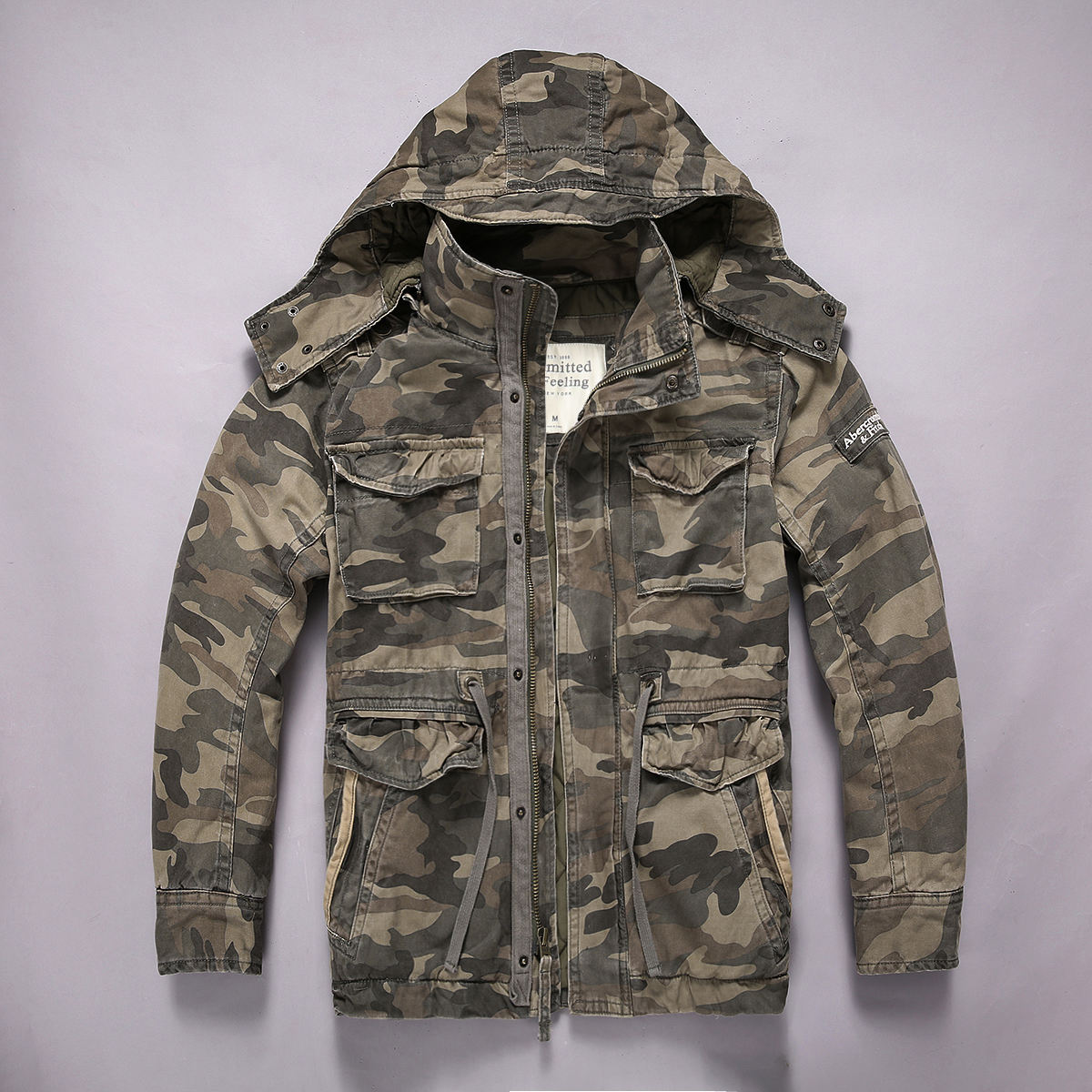 Outdoor 100% Cotton Casual Camouflage Cargo Wash Water Lengthen Coat Jacket