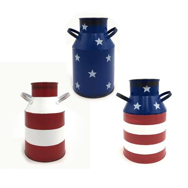 Home Decor Independence Day 4th of July Metal Bucket Flower Pot Milk Tin 3 colors