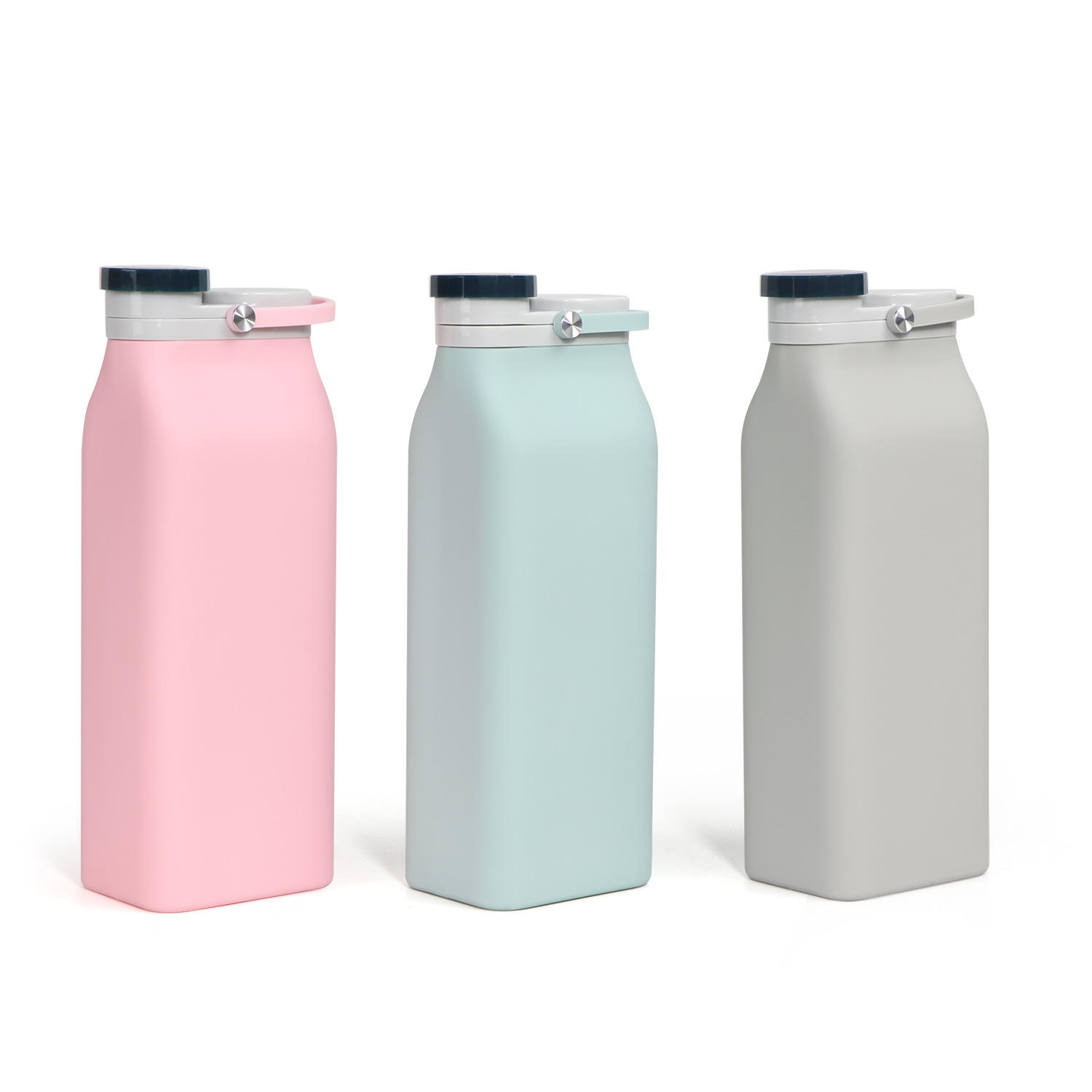 2021 Hot Selling Outdoor sports portable handle silica gel Folding water bottle 600ml