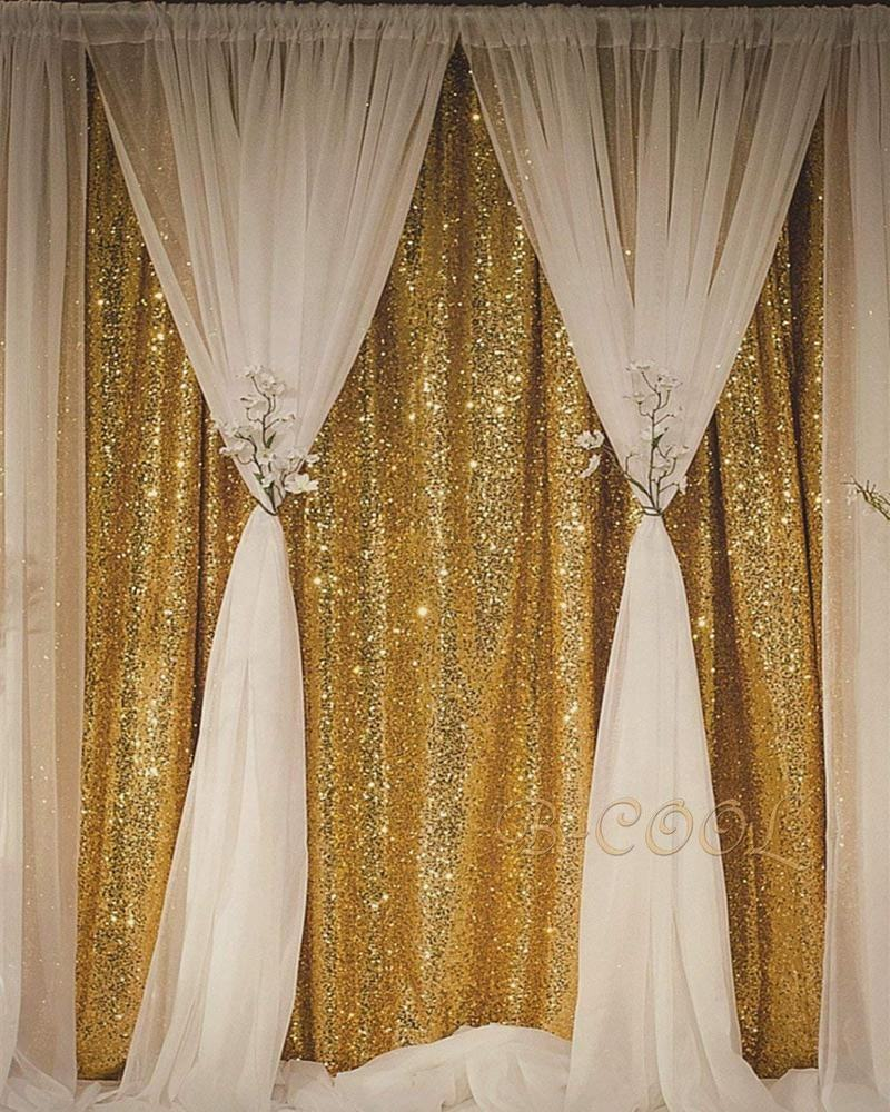 2019 de moda, decoración de la boda 3mm brillante de cortina de oro