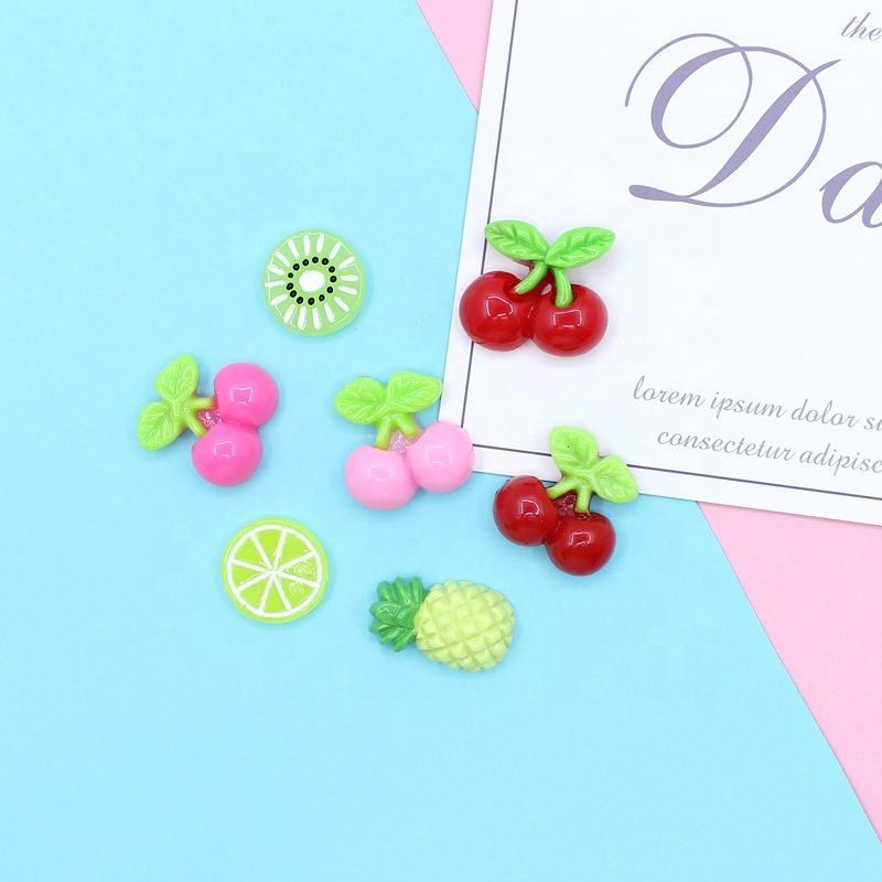 Lovely Cartoon Fruits Kiwi Lemon Pineapple cherry Flatback Resins For Slime Part
