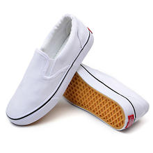 Plain White Canvas Shoes Slip On For Men Unisex Classic Fashion Breathable Comfortable Low Top Flat Durable Men's Sneakers