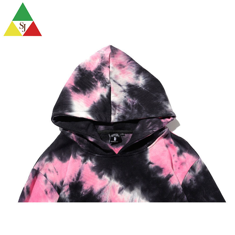 Wholesale dip dye tracksuit color smoke cotton knit fabric tie dye hoodies men