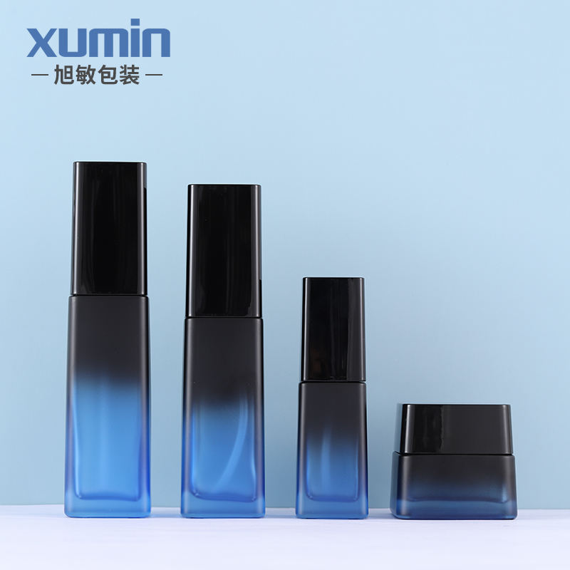 blue cosmetic glass bottle 40ml 110ml 125ml with glass lotion bottle