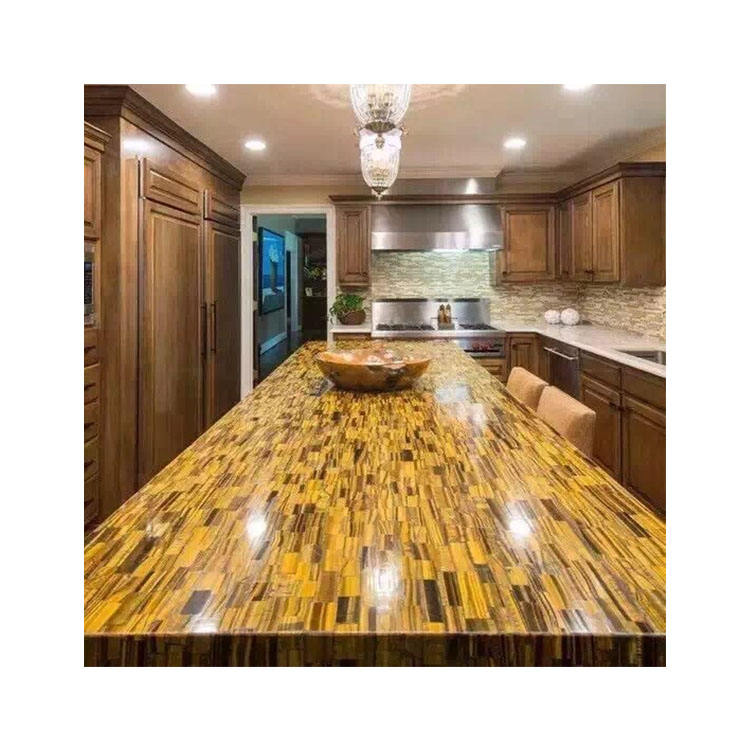 Tiger eye gemstone marble countertop Tables Bathrooms Kitchens