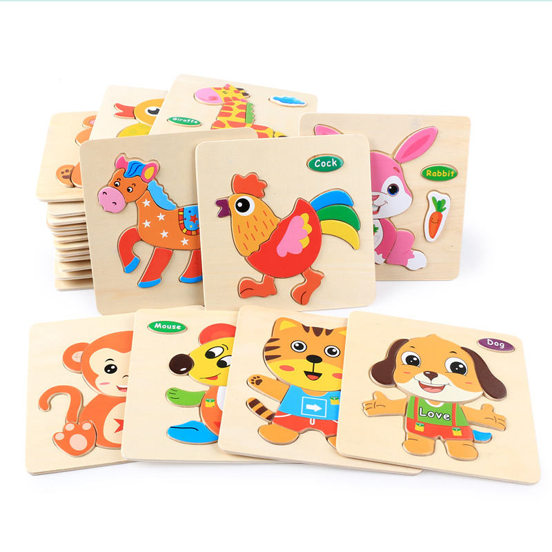 Best design 3d wooden jigsaw puzzle of 32 kinds animal shape educational toys for kids