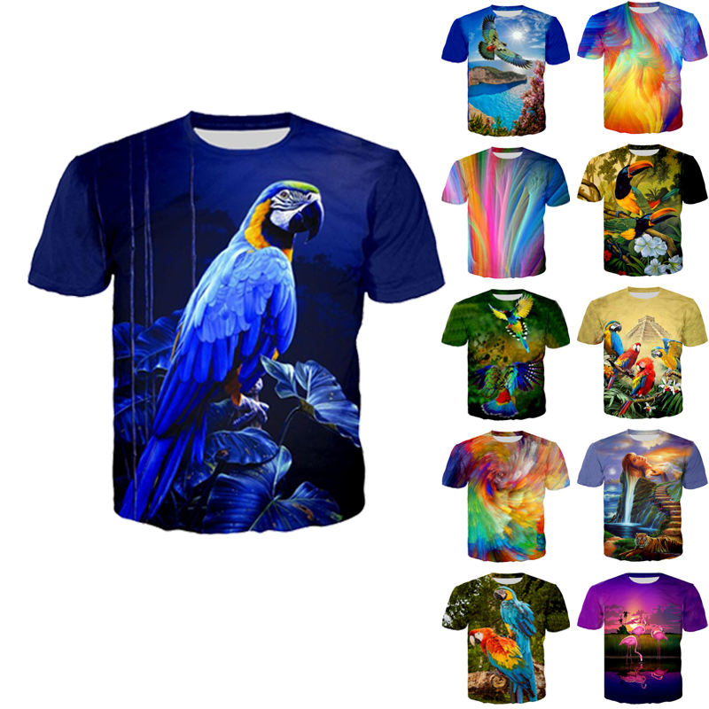 Parrot Peacock Bird Mens 3D Print TShirt Women Flamingos Floral Hawaiian Summer T-Shirt Short Sleeve Tees T Shirt Design