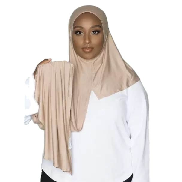 Wanyi hijab scarf factory supply high quality muslim one loop cotton jersey instant hijab