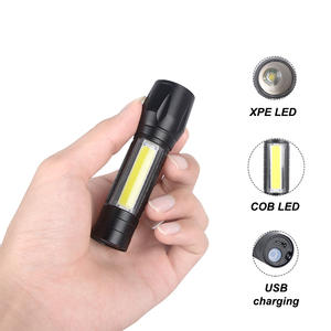 Mini USB Rechargeable Zoomable Flashlight Portable Hand Torch