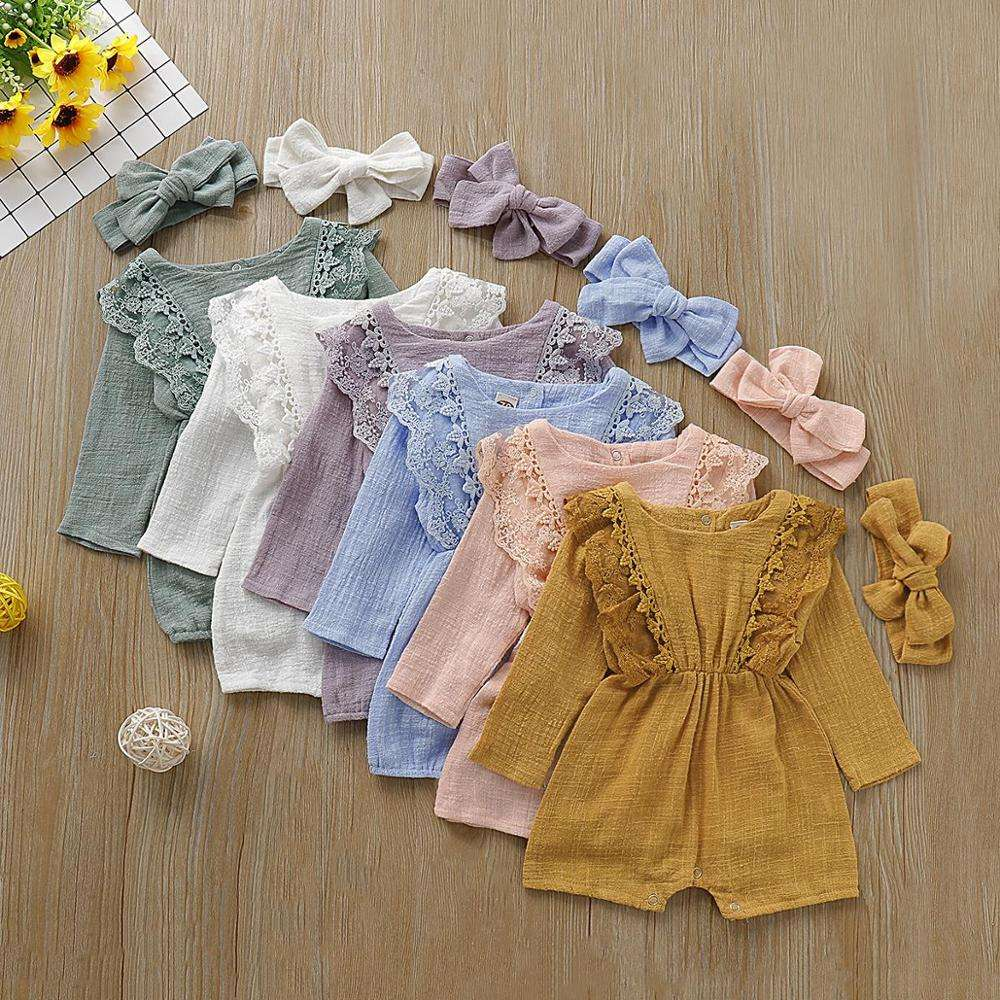 Newborn Infant Baby Girls Boys 0-24M Autumn Winter Causal Bodysuits Long Sleeve Solid Cotton Jumpsuits Playsuit