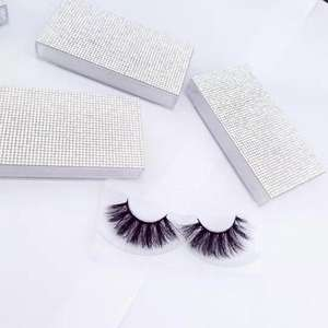 factory supply Rhinestone eyelash cases wholesale private label 25mm 3d 5d mink eyelashes with customised packaging