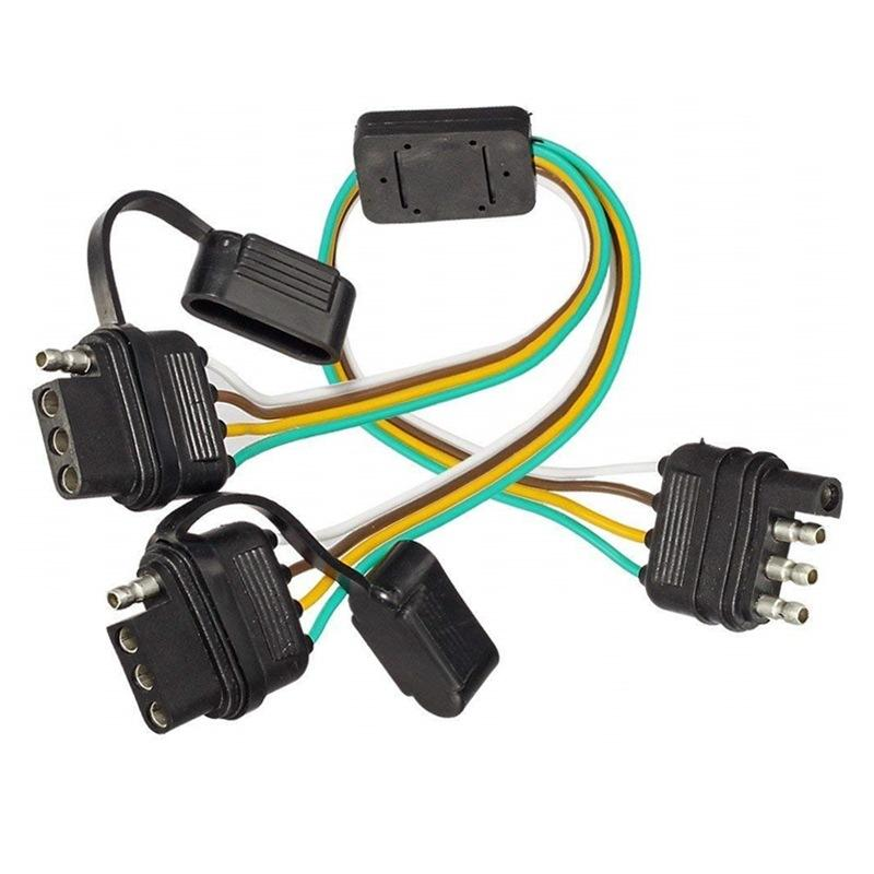 Flat 4-Cara 4 Pin Tow Trailer Y Splitter Harness Adaptor 12V LED Tailgate Lampu untuk Pickup truk Trailer Otomotif Wire Harness