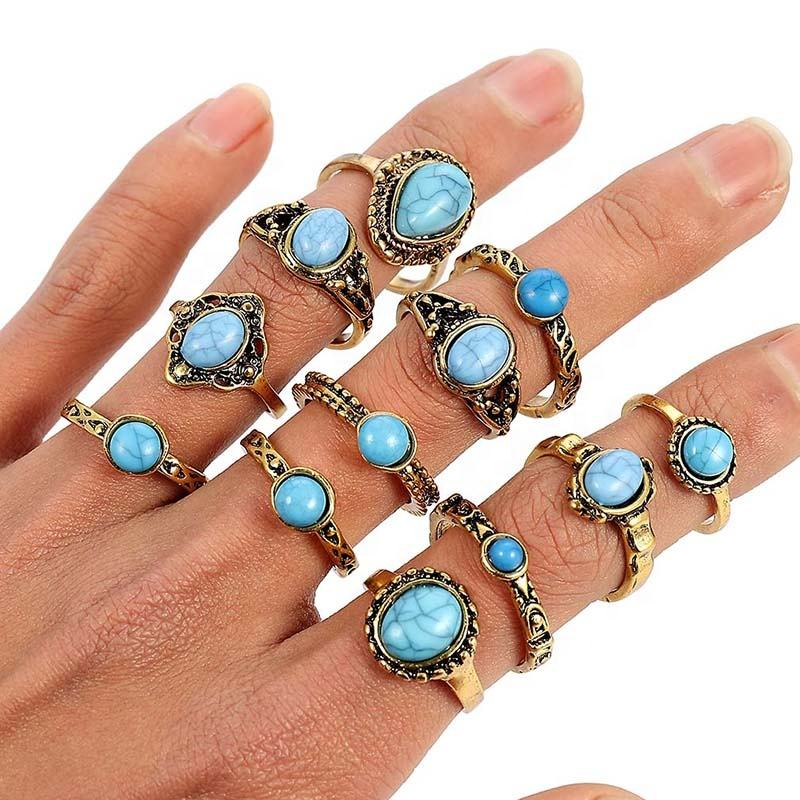 Vintage Gold Mix Size Jewelry For Woman exotic ring Boho color Metal Opal Green Stone Ring Gifts Wholesale 10pcs/set