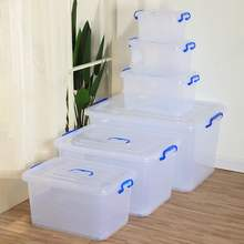 Transparent Plastic Storage  Bin Rice Container Organizer Multipurpose Cloth Book Storage Box Bin