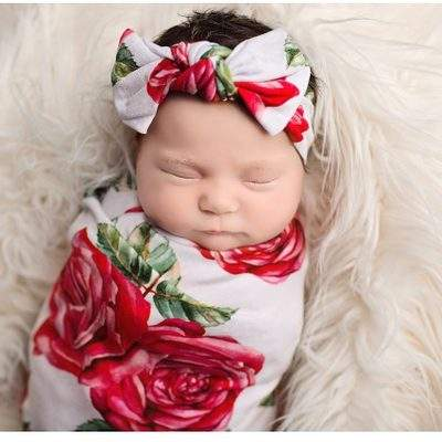 0-3M Baby Floral Receiving Blanket Hospital Nursery Swaddling Cotton Blanket With Headband Photography props