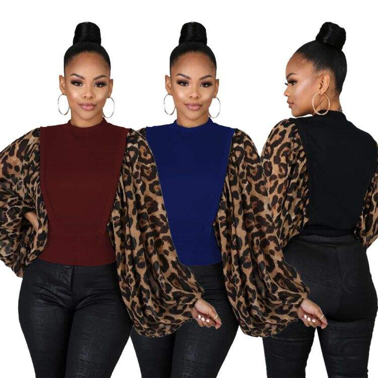 Womens Fashion Tops Leopard Print Puff Long Sleeve Turtle Neck Sweat TopsためWinter Autumn Fall Ladies Clothing RS00218