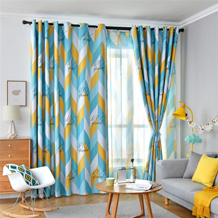 Nordic Style Geometry Printing Style Living Room Bedroom Washable Thermal Insulated Hooks Ready Made Curtain//