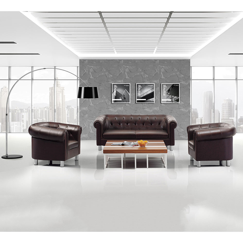 KL-S107 high quality furniture office leather sofa set waiting room competitive price