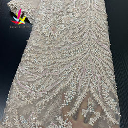 Guangzhou Luxury Heavy African French Wine Handmade Pearls Beaded Embroidery Mesh Tulle Net Lace Fabric for Bridal Wedding Dress