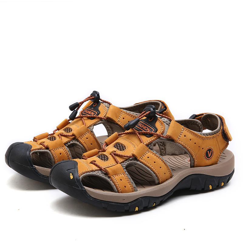 hot sale outdoor Genuine leather sandals men open rubber beach shoes