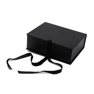 High-end Design Logo Custom Black Art Paper Coat Grey Board Packaging Foldable Gift Box for Clothes