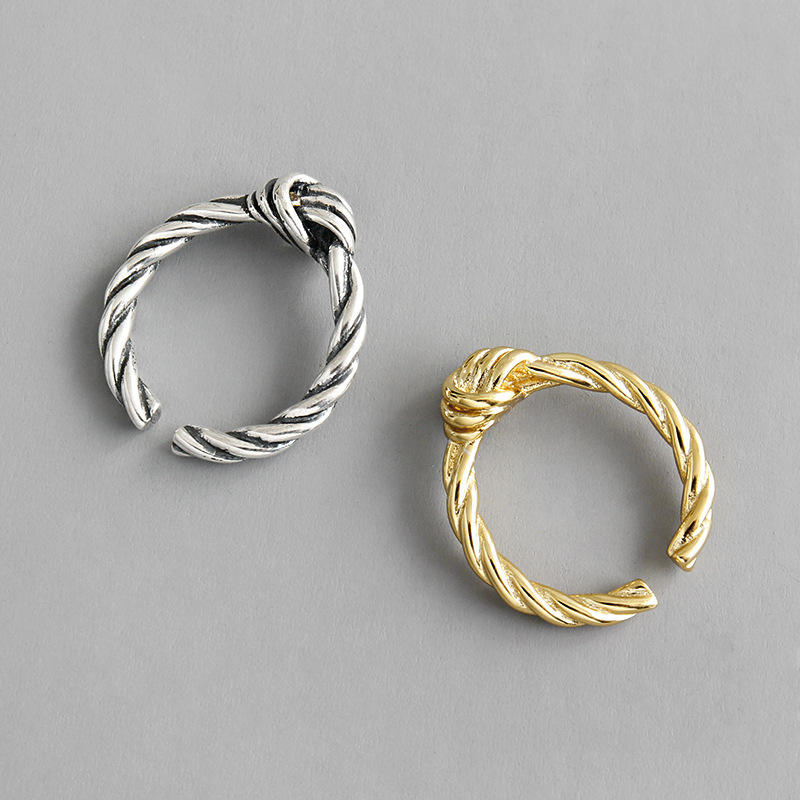 S925 Knot Intertwined Rope Vintage 925 Sterling Silver Twisted Rope Rings For Wedding