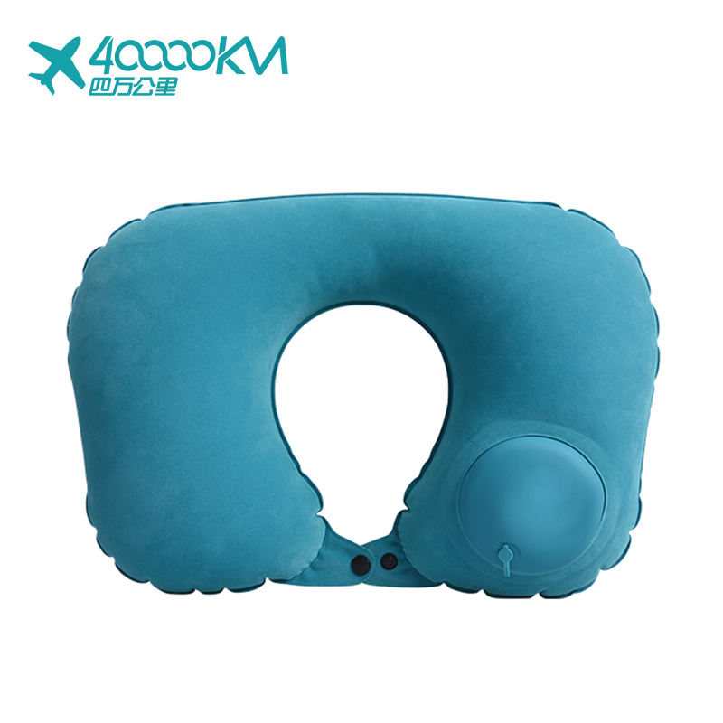 WMXP0003 New Fashion Air Filled TPU U shape foldable flocked Auto Press Pump inflatable travel neck pillow with bag