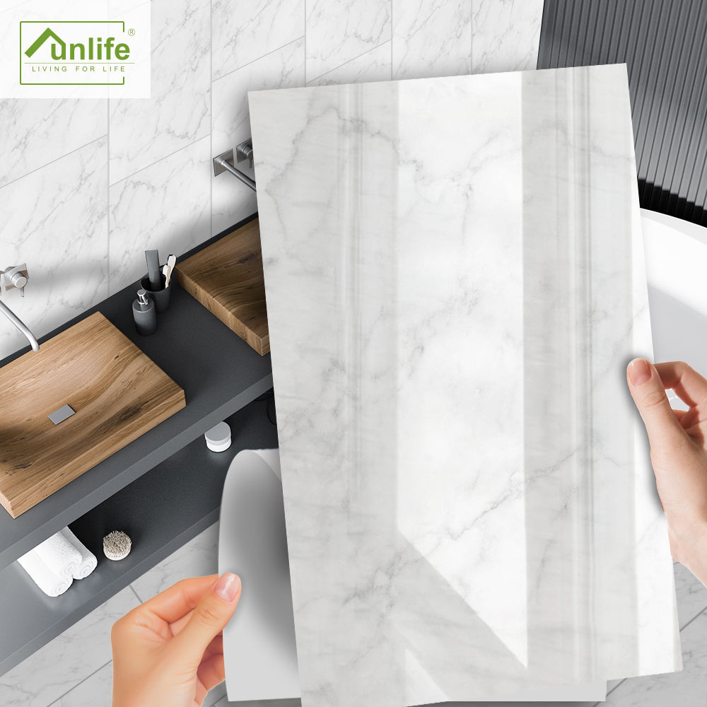 Funlife Peel and Stick Marble Sticker Self adhesive White Marble Tile Stickers Removable Marble Contact Paper for Counter top