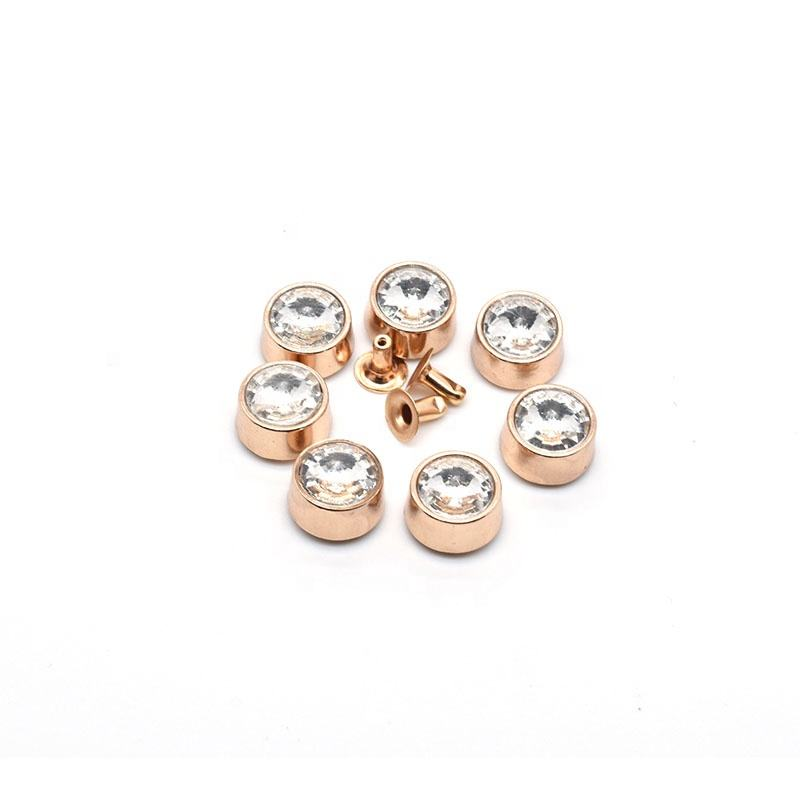 Decorative Rivets Wholesale Best Quality Assorted Color Rhinestone Decorative Rivets Brass Crystal Diamond Jeans Brass Button Rivet For Leather