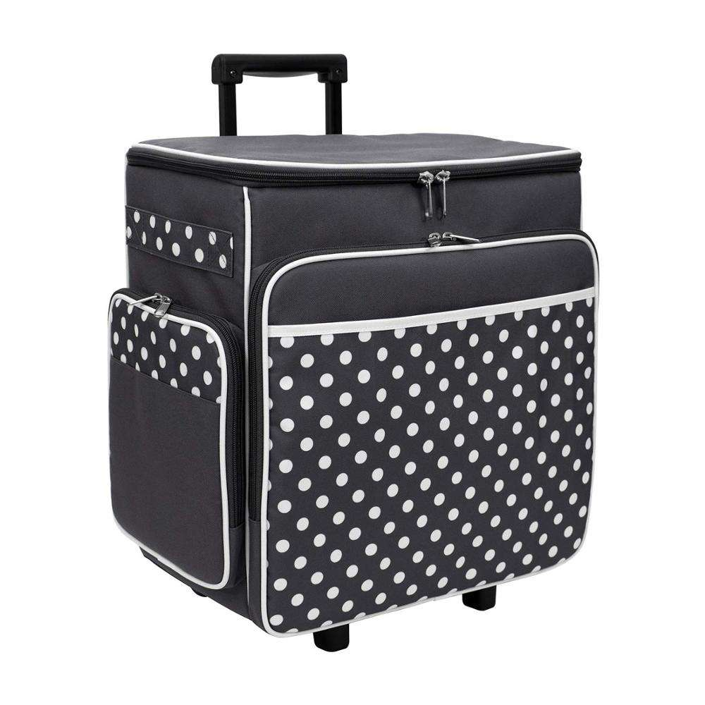 Dot Rolling Scrapbook Storage Tote Craft Case with Dual Wheels