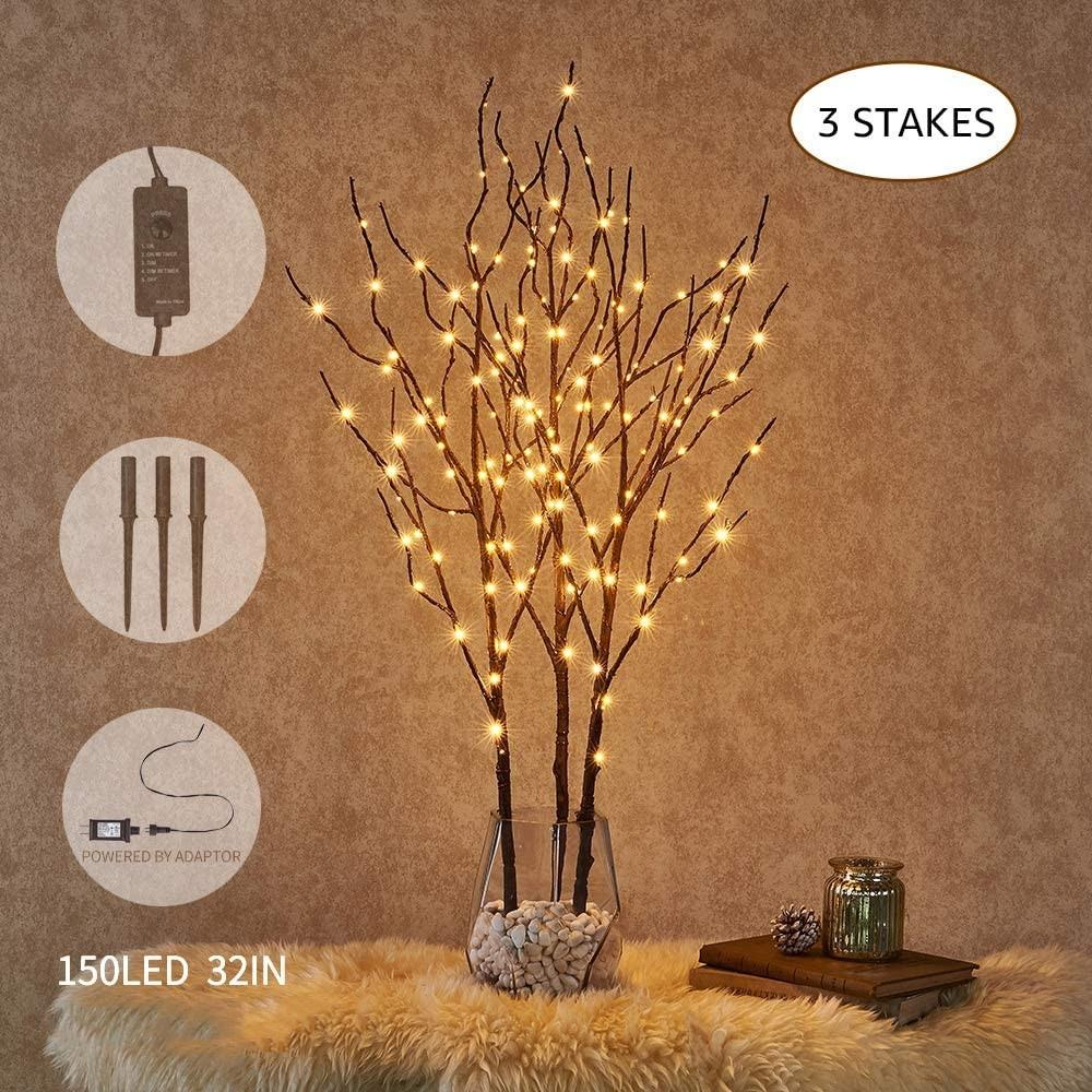 3 Pack Pre Lit Artificial Brown Twig BranchとFairy Lights 32in 150 LED PlugでLighted Willow BranchためChristmas Easter