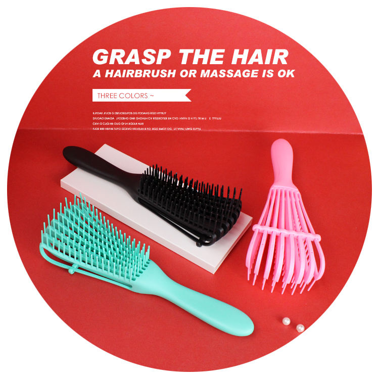 Women Specialized detangling brush 8 Claws Large Bent Comb Multifunction Massage orange detangling brush new big hair brush