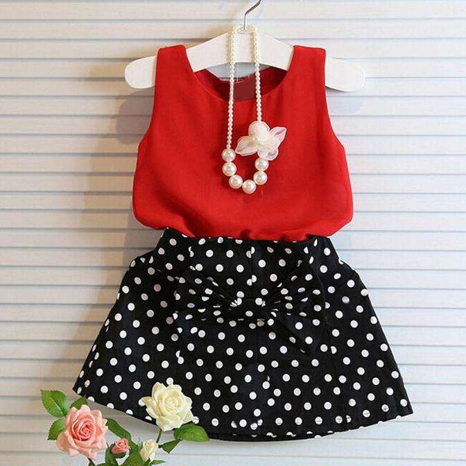 2020 Fashion Girls Dot Clothing set girl cotton skirt Bow Cotton Skirts Suit For Wholesales