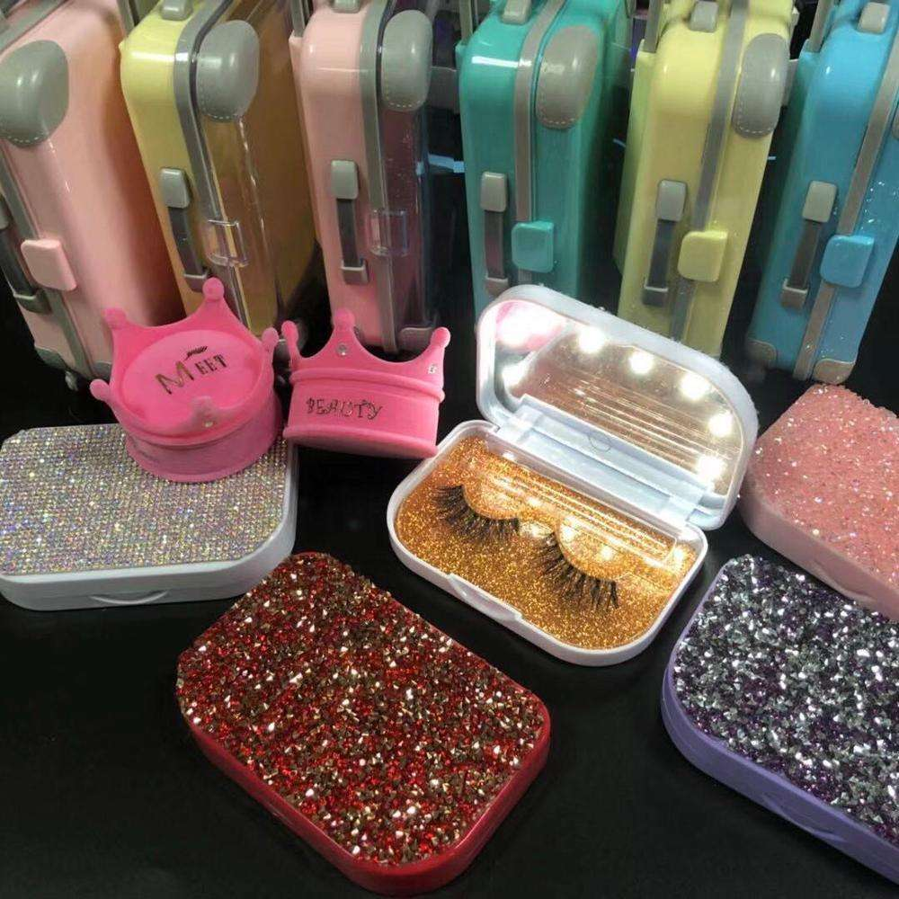 25mm mink 5d eyelashes led lashes case 3d mink custom logo suitcase package travel case vonder