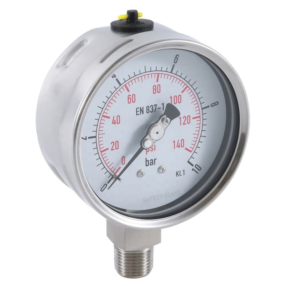 Stainless steel manometer glycerin filled pressure gauge