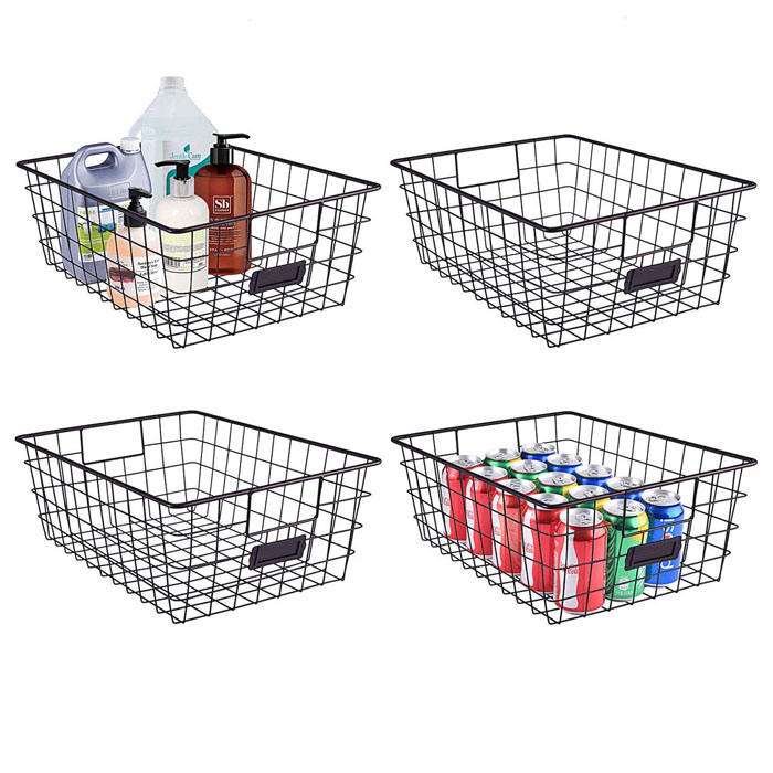 Set of 4 Black Metal Wire Food Storage Basket for Kitchen