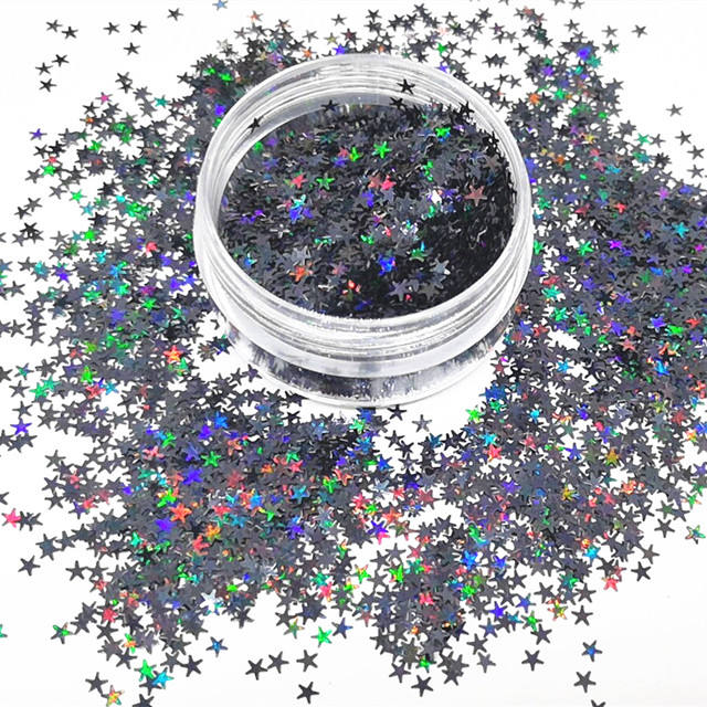 Star glitter 2.5mm shapes holographic black 2.5mm glitter star for body nail art resin tumble star shapes