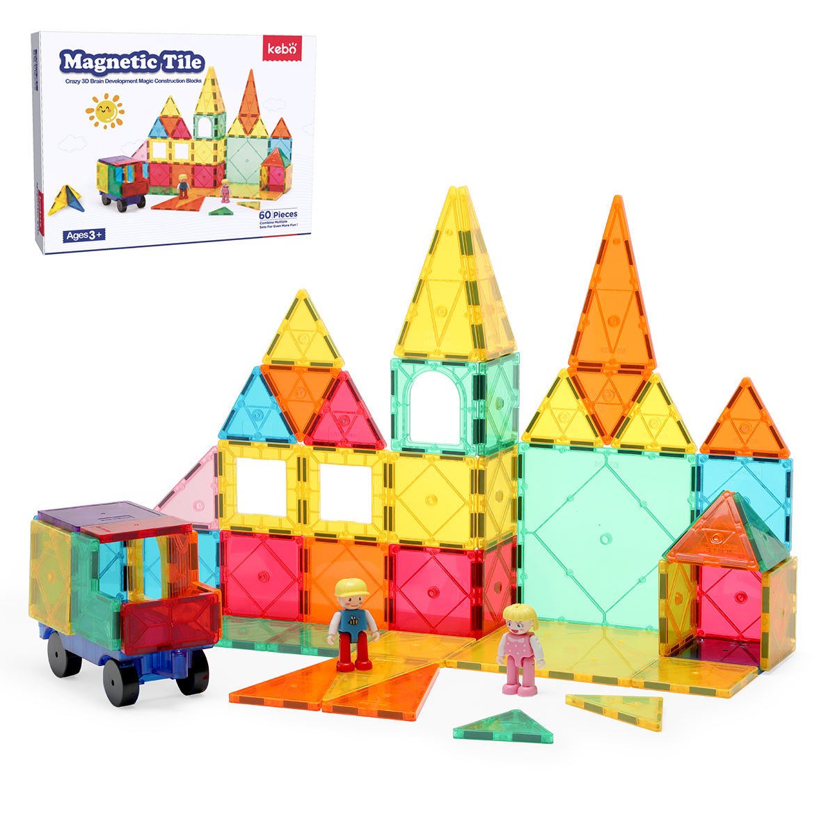 Amazon hot selling educational magnetic tiles building blocks plastic construction toys for kids