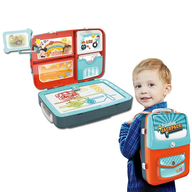 Play Set Kids Learning Educational Backpack Painting 3 In 1 Drawing Board Toys