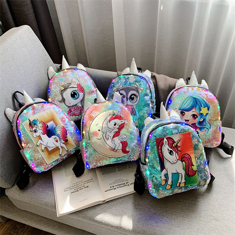 2020 wholesale fashion high quality waterproof Chic sequins unicorn leather backpack glitter young girls shiny sequins backpack