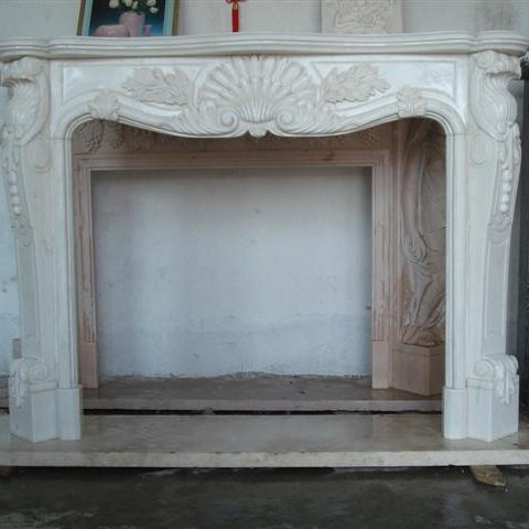 Hand Carved Indoor White Fireplace White Marble Electric Fireplace White Stone Electric Fireplace