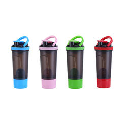 700ML Manufacture PPA Free Powder Storage Box Custom LOGO Gym Plastic Shaker Bottle With Sifter Plastic Mixing Ball