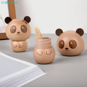 Bew design creative Cute Panda Shape wooden toothpick bottle box made from walnut or beech oem odm manufactory