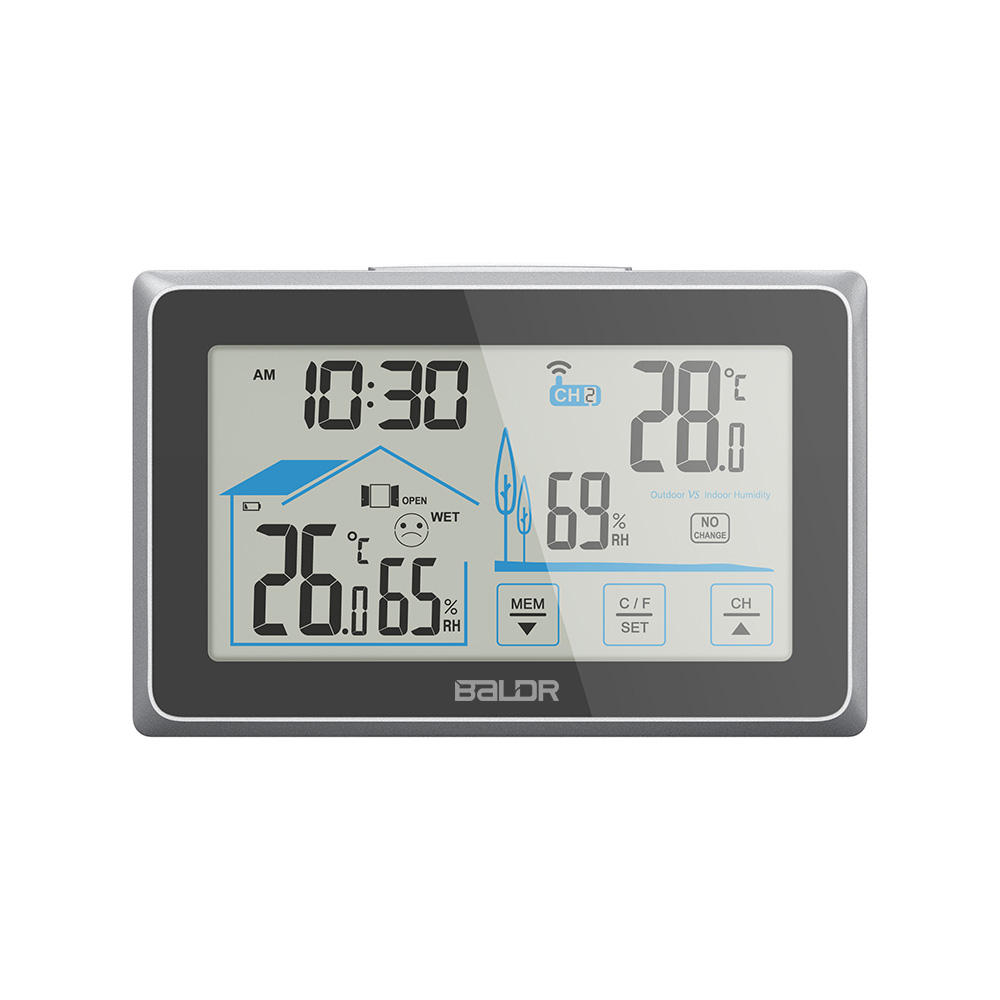 Touch Screen Home Digital Wireless Weather Station Thermometer Hygrometer With Indoor/Outdoor Humidity and Temperature