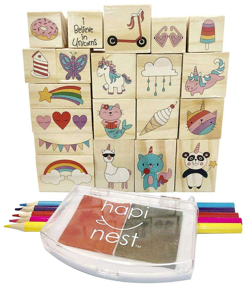 kids DIY unicorn and friend wooden stamp & color pencil & ink pad kit